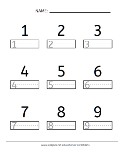 Number Writing 1-9